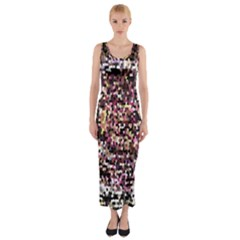 Mosaic Colorful Abstract Circular Fitted Maxi Dress by Amaryn4rt