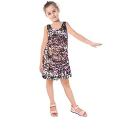 Mosaic Colorful Abstract Circular Kids  Sleeveless Dress by Amaryn4rt