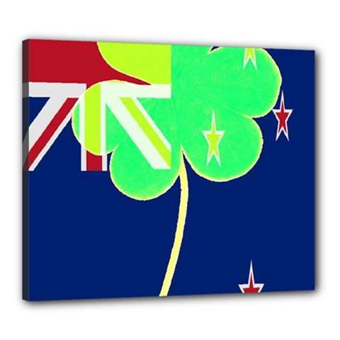 Irish Shamrock New Zealand Ireland Funny St Patrick Flag Canvas 24  X 20  by yoursparklingshop