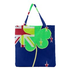Irish Shamrock New Zealand Ireland Funny St Patrick Flag Grocery Tote Bag by yoursparklingshop