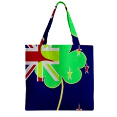 Irish Shamrock New Zealand Ireland Funny St Patrick Flag Zipper Grocery Tote Bag by yoursparklingshop