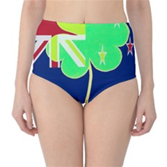 Irish Shamrock New Zealand Ireland Funny St Patrick Flag High Waist Bikini Bottoms by yoursparklingshop