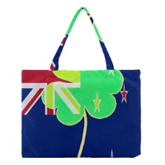 Irish Shamrock New Zealand Ireland Funny St Patrick Flag Medium Tote Bag by yoursparklingshop