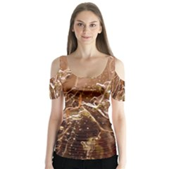 Ice Iced Structure Frozen Frost Butterfly Sleeve Cutout Tee