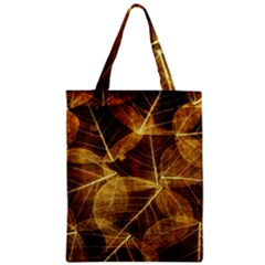 Leaves Autumn Texture Brown Zipper Classic Tote Bag by Amaryn4rt