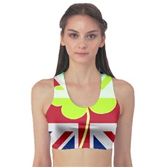 Irish British Shamrock United Kingdom Ireland Funny St  Patrick Flag Sports Bra