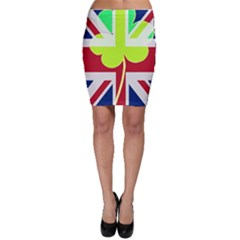Irish British Shamrock United Kingdom Ireland Funny St  Patrick Flag Bodycon Skirt
