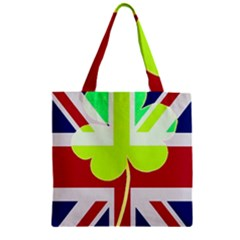 Irish British Shamrock United Kingdom Ireland Funny St  Patrick Flag Zipper Grocery Tote Bag