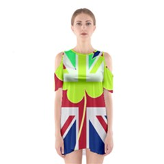 Irish British Shamrock United Kingdom Ireland Funny St  Patrick Flag Shoulder Cutout One Piece
