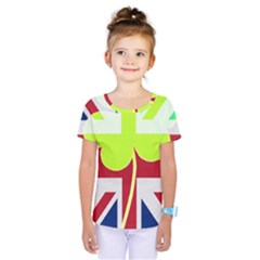 Irish British Shamrock United Kingdom Ireland Funny St  Patrick Flag Kids  One Piece Tee