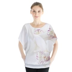 Orchids Flowers White Background Blouse by Amaryn4rt