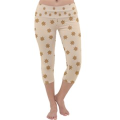 Pattern Gingerbread Star Capri Yoga Leggings by Amaryn4rt