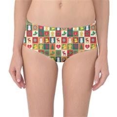 Pattern Christmas Patterns Mid Waist Bikini Bottoms by Amaryn4rt