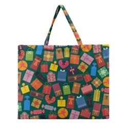 Presents Gifts Background Colorful Zipper Large Tote Bag by Amaryn4rt