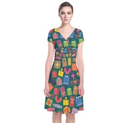 Presents Gifts Background Colorful Short Sleeve Front Wrap Dress by Amaryn4rt