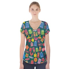 Presents Gifts Background Colorful Short Sleeve Front Detail Top by Amaryn4rt
