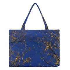 Poplar Foliage Yellow Sky Blue Medium Tote Bag by Amaryn4rt