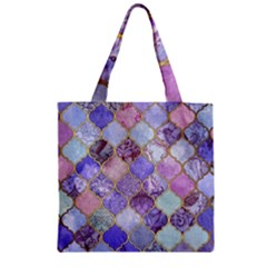 Blue Toned Moroccan Mosaic  Zipper Grocery Tote Bag by Brittlevirginclothing