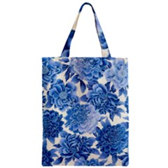 Blue Toned Flowers Zipper Classic Tote Bag by Brittlevirginclothing