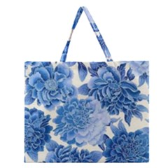 Blue Toned Flowers Zipper Large Tote Bag by Brittlevirginclothing