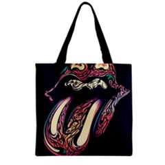 The Rolling Stones Glowing Logo Grocery Tote Bag by Brittlevirginclothing