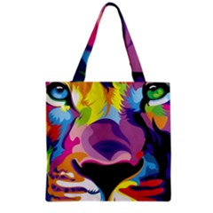 Colorful Lion s Face  Grocery Tote Bag by Brittlevirginclothing