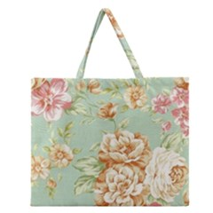 Vintage Pastel Flowers Zipper Large Tote Bag by Brittlevirginclothing