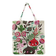 Cute Flower Cartoon  Characters  Grocery Tote Bag by Brittlevirginclothing