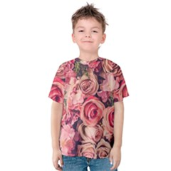 Beautiful Pink Roses  Kids  Cotton Tee by Brittlevirginclothing