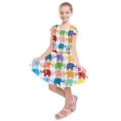 Colorful Small Elephants Kids  Short Sleeve Dress by Brittlevirginclothing