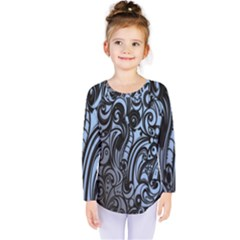 Gray Batik Blue Kids  Long Sleeve Tee by Jojostore