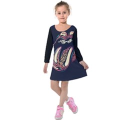 The Rolling Stones Glowing Kids  Long Sleeve Velvet Dress by Brittlevirginclothing