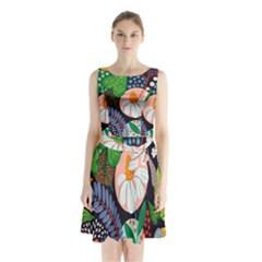 Japanese Inspired  Sleeveless Chiffon Waist Tie Dress by Brittlevirginclothing