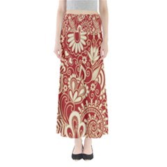Red Flower White Wallpaper Organic Maxi Skirts by Jojostore