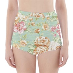 Vintage Pastel Flowers High Waisted Bikini Bottoms by Brittlevirginclothing