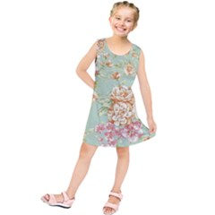 Vintage Pastel Flowers Kids  Tunic Dress