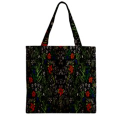 Detail Of The Collection s Floral Pattern Zipper Grocery Tote Bag by Jojostore