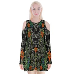 Detail Of The Collection s Floral Pattern Velvet Long Sleeve Shoulder Cutout Dress