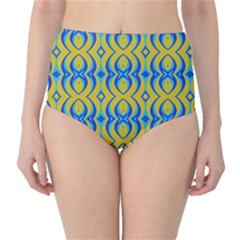 Blue Yellow High-Waist Bikini Bottoms by Jojostore