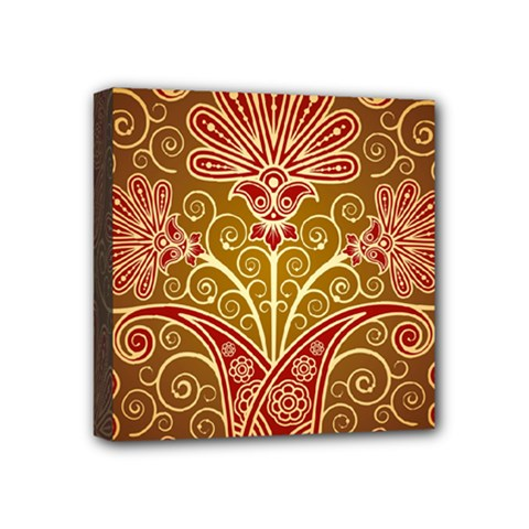 European Fine Batik Flower Brown Mini Canvas 4  X 4  by Jojostore