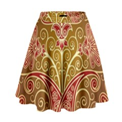 European Fine Batik Flower Brown High Waist Skirt by Jojostore