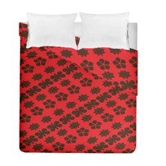 Diogonal Flower Red Duvet Cover Double Side (full/ Double Size) by Jojostore