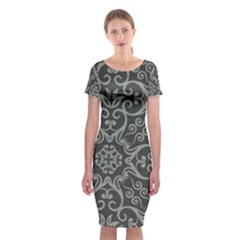 Flower Batik Gray Classic Short Sleeve Midi Dress by Jojostore