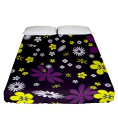 Floral Purple Flower Yellow Fitted Sheet (queen Size) by Jojostore