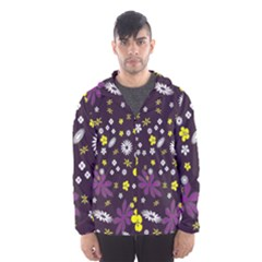 Floral Purple Flower Yellow Hooded Wind Breaker (men) by Jojostore