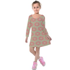 Flower Pink Kids  Long Sleeve Velvet Dress