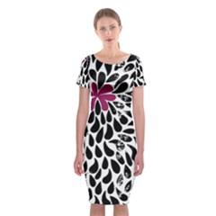 Flower Simple Pink Classic Short Sleeve Midi Dress by Jojostore