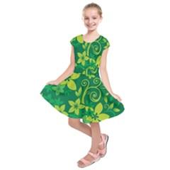 Flower Yellow Green Kids  Short Sleeve Dress by Jojostore