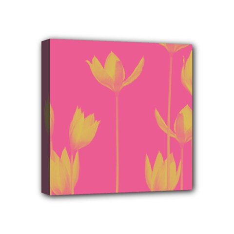 Flower Yellow Pink Mini Canvas 4  X 4  by Jojostore