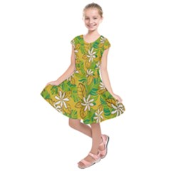 Flower Yellow Kids  Short Sleeve Dress